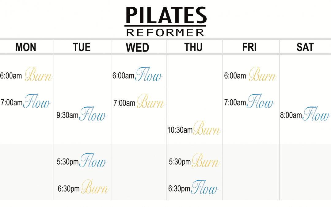 Group Reformer Pilates Timetable